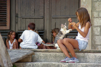 Croatian Girls with Kitten.