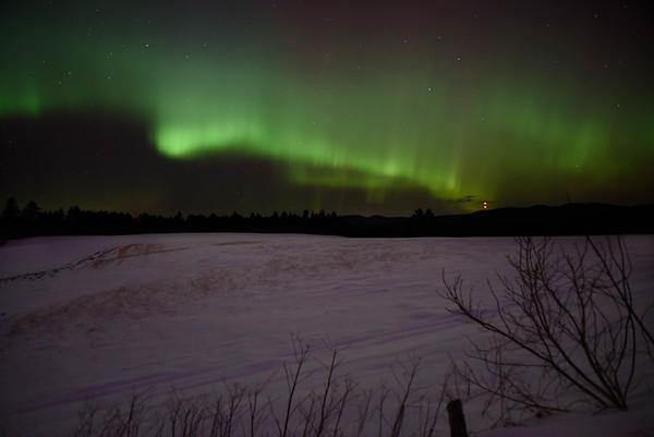Aurora on winter fields
