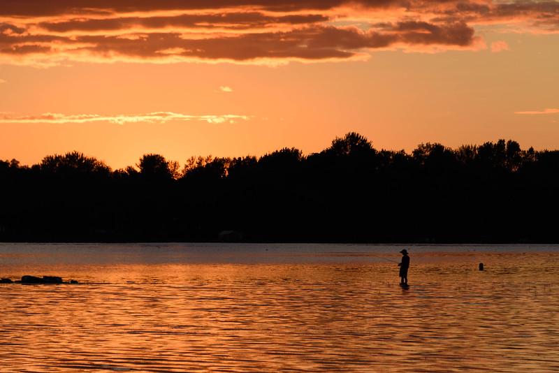 Golden Sunset Fisherman