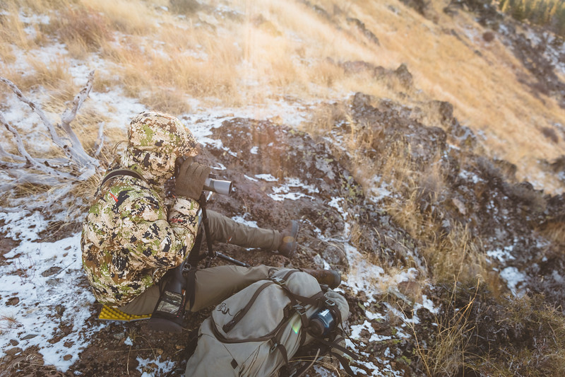 Austin Heinrich glassing for Mule Deer in Idaho, November 2018