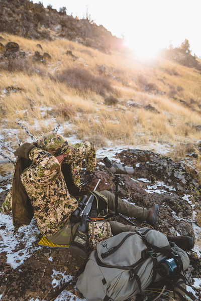 Austin Heinrich deploying the Kelvin Down WS Hoody while hunting Mule Deer in Idaho, November 2018