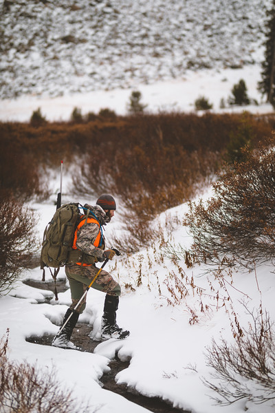 Casey Barton (_caseybarton_) making tracks at 10,000 ft in an attempt to find a legal ram in Montana's unlimited sheep unit.
