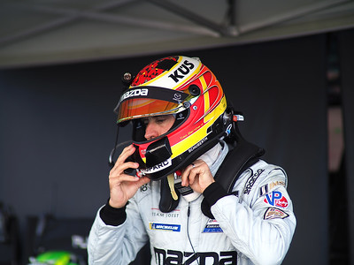 Mazda #77 driver Timo Bernhard prepares for his warmup lap.