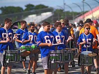 Percussion band in pit lane.