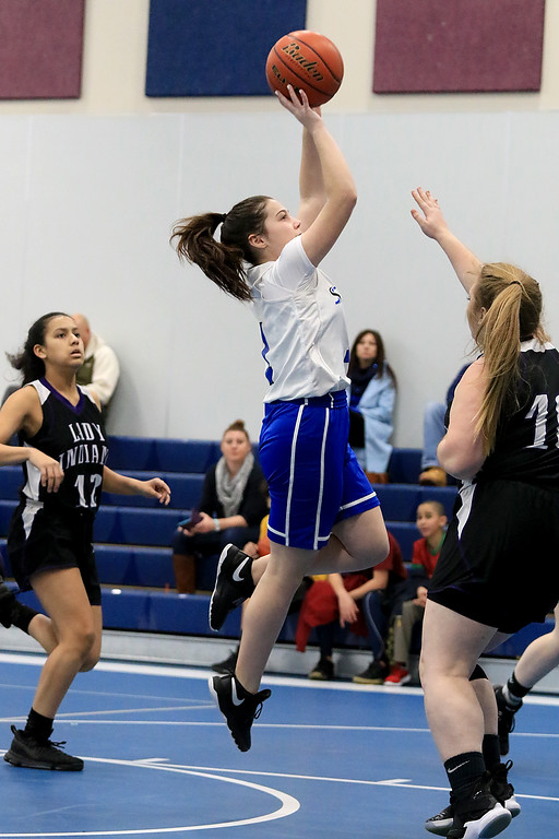 . North Brookfield High School girls basketball played The Sizer School in Fitchburg on Friday afternoon, February 15, 2019. Sizers Wiley Doucette puts up a shot. SENTINEL & ENTERPRISE/JOHN LOVE