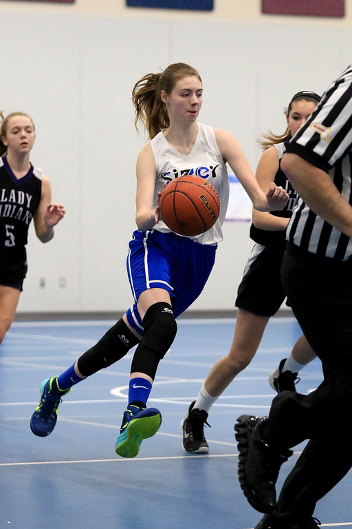 . North Brookfield High School girls basketball played The Sizer School in Fitchburg on Friday afternoon, February 15, 2019. Sizer\'s Anna Pettirossi takes the ball down court. SENTINEL & ENTERPRISE/JOHN LOVE