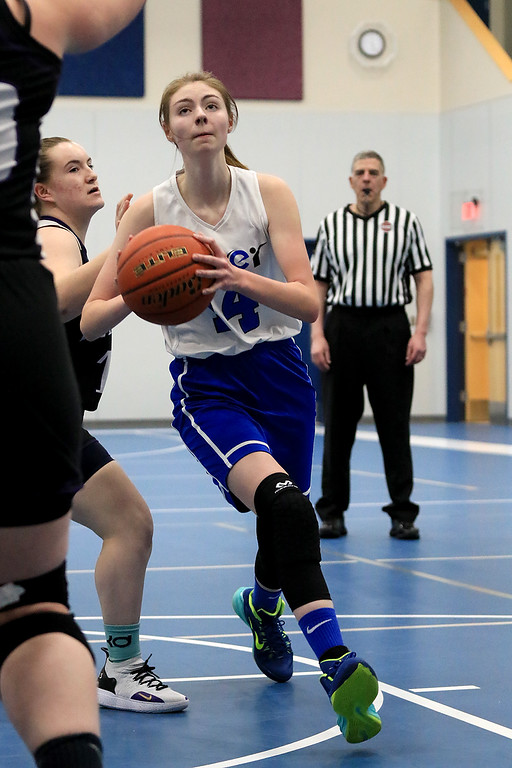 . North Brookfield High School girls basketball played The Sizer School in Fitchburg on Friday afternoon, February 15, 2019. Sizer\'sAnna Pettirossi drive to the basket for a shot. SENTINEL & ENTERPRISE/JOHN LOVE