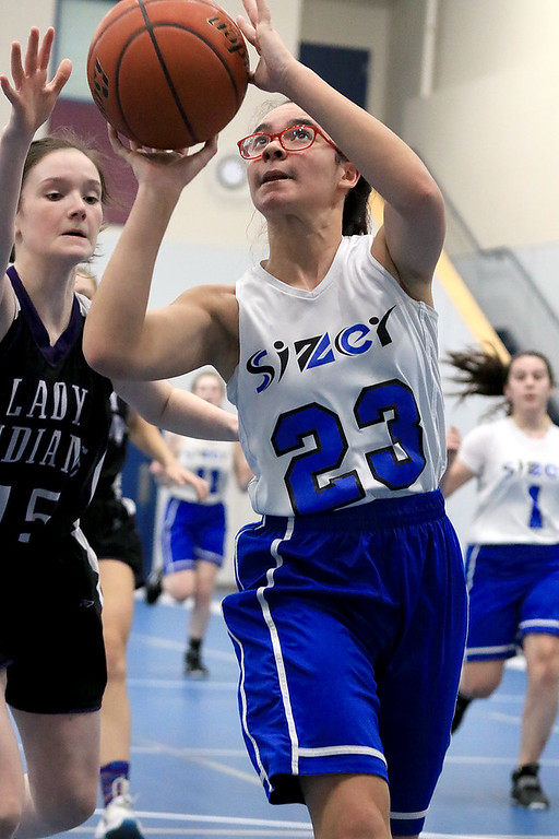 . North Brookfield High School girls basketball played The Sizer School in Fitchburg on Friday afternoon, February 15, 2019. Sizer\'s Elysia Comier puts up a shot. North Brookfield won the contest, 44-36. SENTINEL & ENTERPRISE/JOHN LOVE