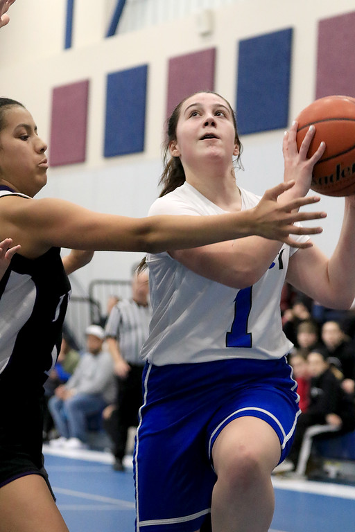 . North Brookfield High School girls basketball played The Sizer School in Fitchburg on Friday afternoon, February 15, 2019. Sizer\'s Wiley Doucette drive to the basket for a shot during action in the game. SENTINEL & ENTERPRISE/JOHN LOVE