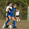 The Sizer School girls soccer in Fitchburg played<br /> Trivium girls on Wednesday afternoon at Saima Park in Fitchburg. Sizer's #2 Carolyn Ferguson tries to keep the ball away from THS's #20 Anna Kearney. SENTINEL & ENTERPRISE/JOHN LOVE