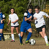 The Sizer School girls soccer in Fitchburg played<br /> Trivium girls on Wednesday afternoon at Saima Park in Fitchburg. THS's #22 Sophia Ortiz and Sizer's #21 Yuliana Vieira fight of control of the ball. SENTINEL & ENTERPRISE/JOHN LOVE