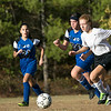 The Sizer School girls soccer in Fitchburg played<br /> Trivium girls on Wednesday afternoon at Saima Park in Fitchburg. Sizer's #20 Stepheanie Montanez and THS's #2 Heidi Ziegler chase after the ball. SENTINEL & ENTERPRISE/JOHN LOVE