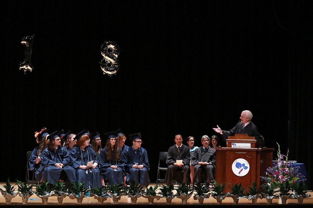. Scenes from the Sizer School graduation on Tuesday night at Weston Auditorium at Fitchburg State University. Sizer School Principal David Perrigo addresses the class of 2018 along with their family and friends at the ceremony. SENTINEL & ENTERPRISE/JOHN LOVE