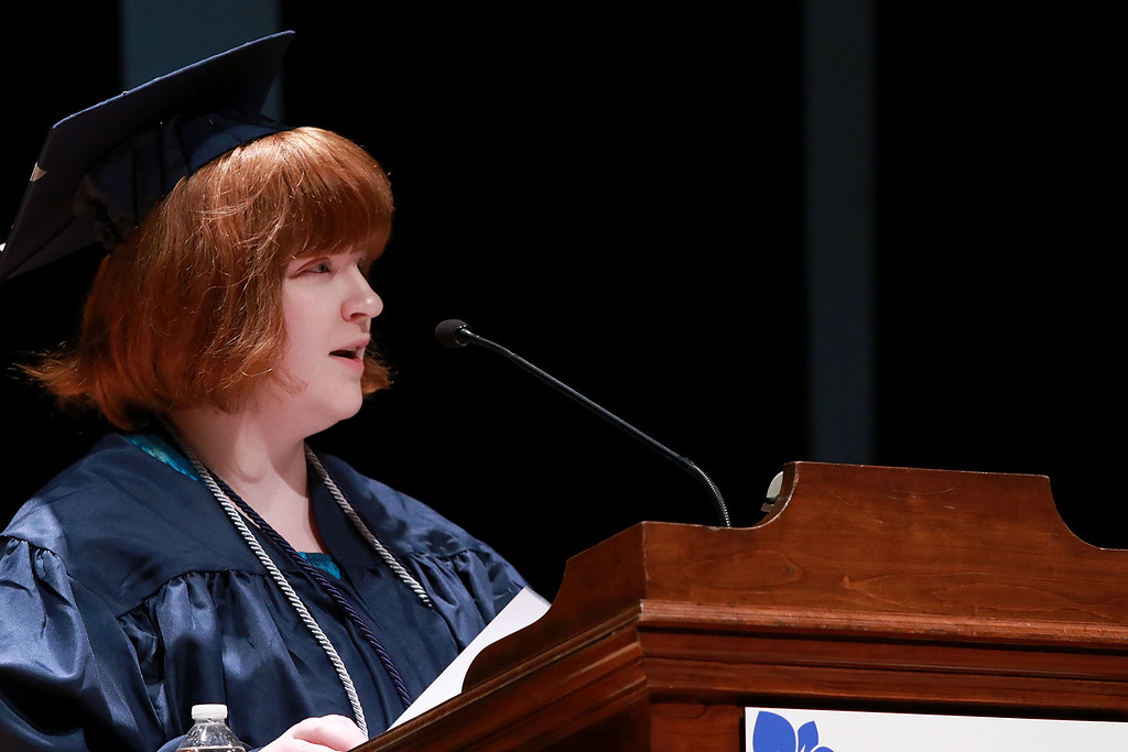 . Scenes from the Sizer School graduation on Tuesday night at Weston Auditorium at Fitchburg State University. Sizer School student speaker Rachel Claflin addresses the class of 2018 along with their family and friends at the ceremony. SENTINEL & ENTERPRISE/JOHN LOVE