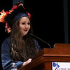 Scenes from the Sizer School graduation on Tuesday night at Weston Auditorium at Fitchburg State University. Sizer School student speaker Hannah Lapidus addresses the class of 2018 along with their family and friends at the ceremony. SENTINEL & ENTERPRISE/JOHN LOVE
