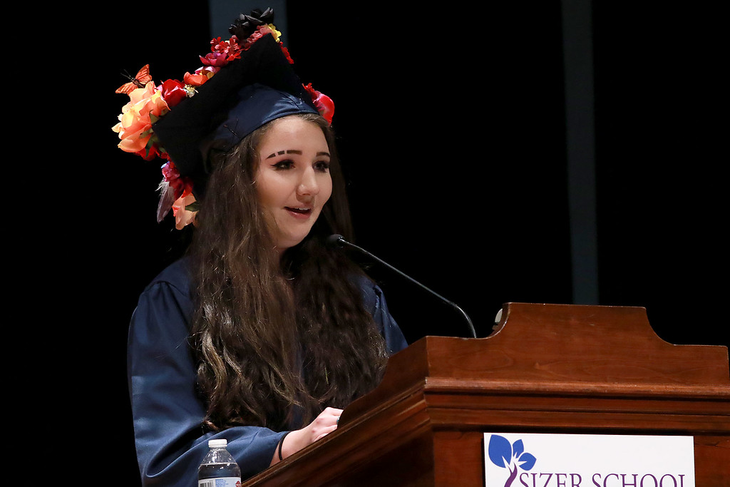 . Scenes from the Sizer School graduation on Tuesday night at Weston Auditorium at Fitchburg State University. Sizer School student speaker Hannah Lapidus addresses the class of 2018 along with their family and friends at the ceremony. SENTINEL & ENTERPRISE/JOHN LOVE