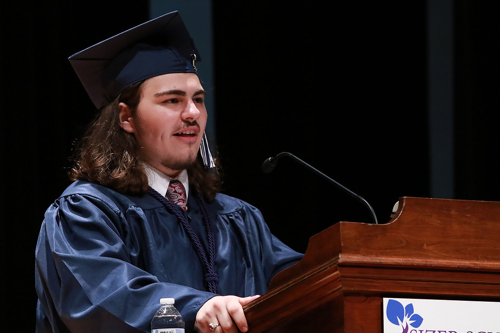 . Scenes from the Sizer School graduation on Tuesday night at Weston Auditorium at Fitchburg State University. Sizer School student speaker Howard Chaput III addresses the class of 2018 along with their family and friends at the ceremony. SENTINEL & ENTERPRISE/JOHN LOVE