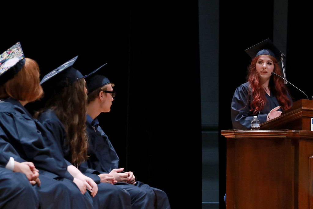 . Scenes from the Sizer School graduation on Tuesday night at Weston Auditorium at Fitchburg State University. Sizer School student speaker Holly Penttila addresses the class of 2018 along with their family and friends at the ceremony. SENTINEL & ENTERPRISE/JOHN LOVE