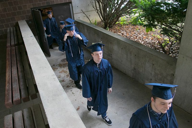 The Sizer A North Central Charter Essential School held their graduation on Thursday night, June 6, 2019 at Fitchburg State University. Graduates parade into the Weston Auditorium to start the ceremony. SENTINEL & ENTERPRISE/JOHN LOVE