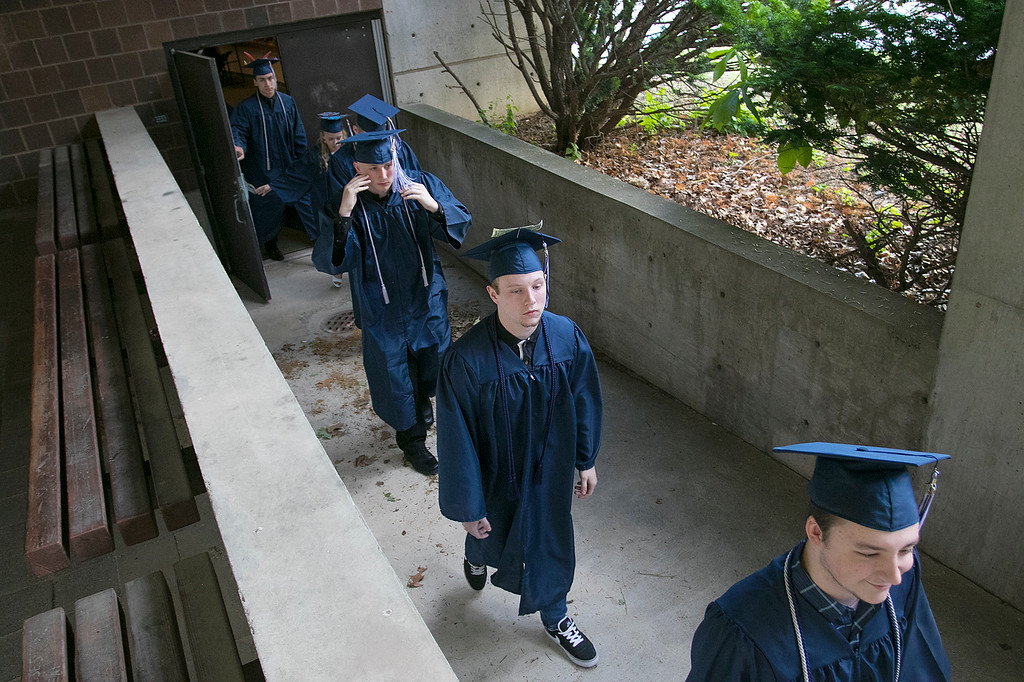 . The Sizer A North Central Charter Essential School held their graduation on Thursday night, June 6, 2019 at Fitchburg State University. Graduates parade into the Weston Auditorium to start the ceremony. SENTINEL & ENTERPRISE/JOHN LOVE
