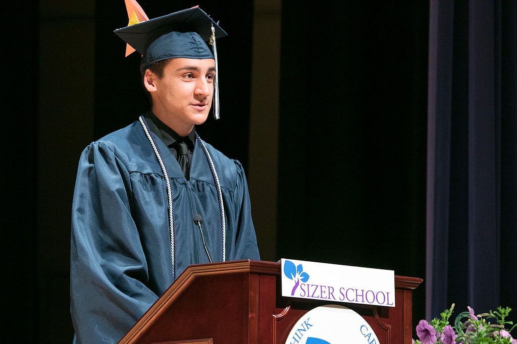 . The Sizer A North Central Charter Essential School held their graduation on Thursday night, June 6, 2019 at Fitchburg State University. Graduate Casey Morse was one of the student speakers at the ceremony. SENTINEL & ENTERPRISE/JOHN LOVE