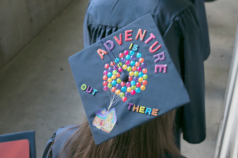 The Sizer A North Central Charter Essential School held their graduation on Thursday night, June 6, 2019 at Fitchburg State University. One of the decorated caps at the ceremony. SENTINEL & ENTERPRISE/JOHN LOVE
