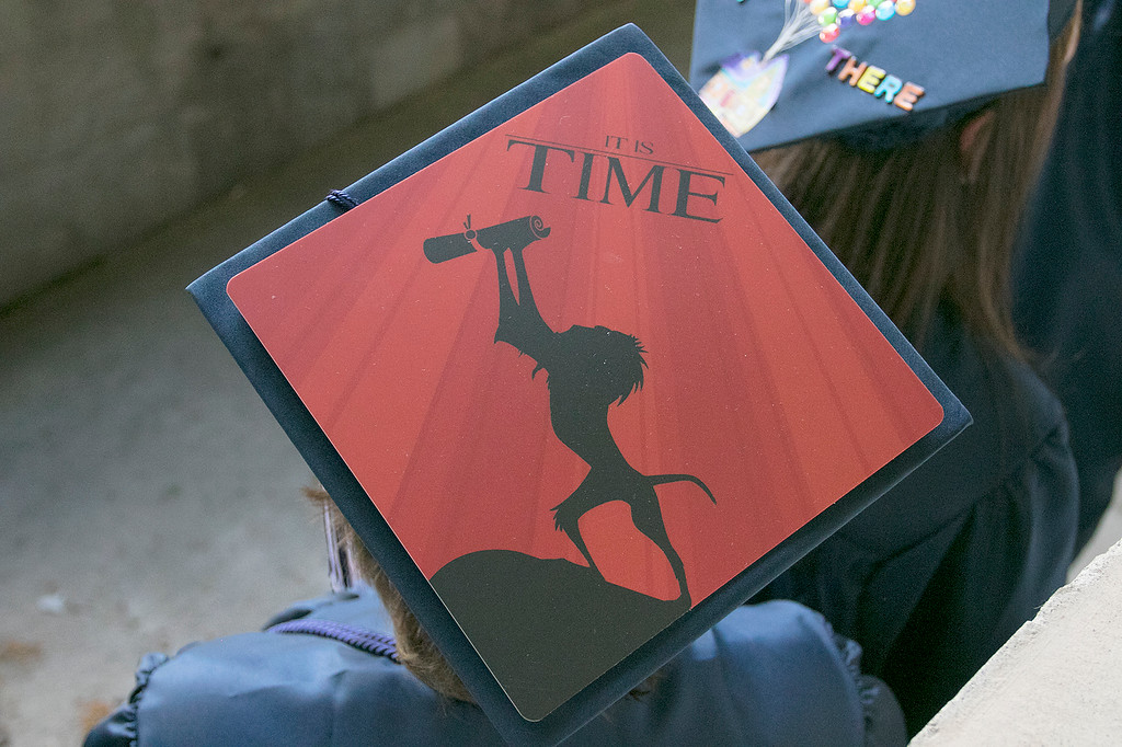 . The Sizer A North Central Charter Essential School held their graduation on Thursday night, June 6, 2019 at Fitchburg State University. One of the decorated caps at the ceremony. SENTINEL & ENTERPRISE/JOHN LOVE