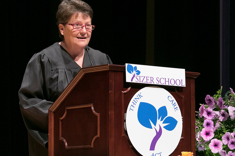 The Sizer A North Central Charter Essential School held their graduation on Thursday night, June 6, 2019 at Fitchburg State University. Math teacher Debra Roy addresses the graduates during the ceremony. SENTINEL & ENTERPRISE/JOHN LOVE