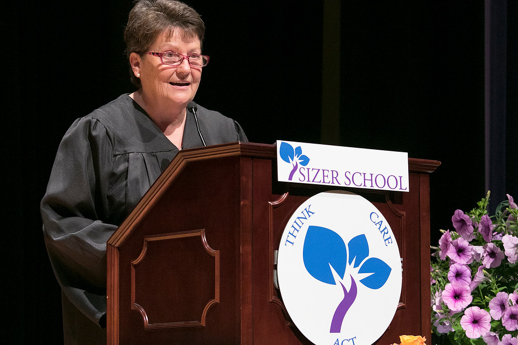 . The Sizer A North Central Charter Essential School held their graduation on Thursday night, June 6, 2019 at Fitchburg State University. Math teacher Debra Roy addresses the graduates during the ceremony. SENTINEL & ENTERPRISE/JOHN LOVE