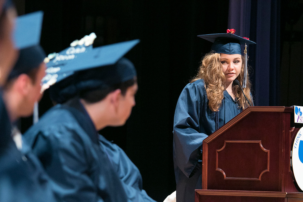 . The Sizer A North Central Charter Essential School held their graduation on Thursday night, June 6, 2019 at Fitchburg State University. Graduate Olivia Wilkins was one of the student speakers at the ceremony. SENTINEL & ENTERPRISE/JOHN LOVE