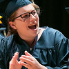 The Sizer A North Central Charter Essential School held their graduation on Thursday night, June 6, 2019 at Fitchburg State University. Graduate Mackenzie Breen cheers for her classmates during the ceremony. SENTINEL & ENTERPRISE/JOHN LOVE