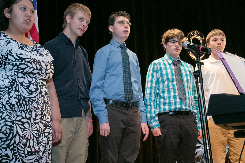 The Sizer A North Central Charter Essential School held their graduation on Thursday night, June 6, 2019 at Fitchburg State University. The Sizer Singers perform during the ceremony. SENTINEL & ENTERPRISE/JOHN LOVE