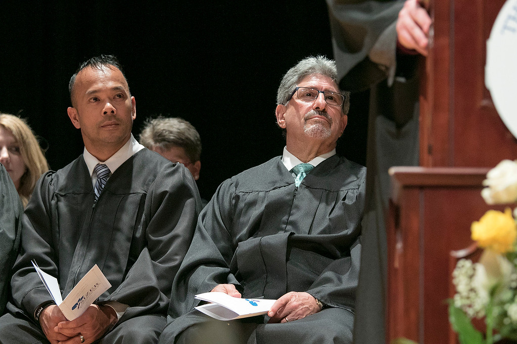 . The Sizer A North Central Charter Essential School held their graduation on Thursday night, June 6, 2019 at Fitchburg State University. Senator Dean Tran and Fitchburg Mayor Stephen DiNatale listen to the speakers during the ceremony. SENTINEL & ENTERPRISE/JOHN LOVE