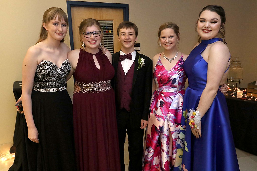 . Scenes from the Sizer School Prom on Saturday, May 19, 2018. Posing for a picture at the prom is, from left, Kaeleigh Revves, Mackenzie Breen, Tyler Reddin, Lindsay Semenza and Madelyn Boire. SENTINEL & ENTERPRISE/JOHN LOVE