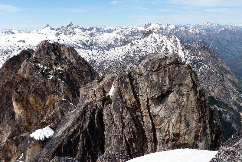 A look over at North Early Winters Spire on the right and Liberty Bell on the left.  In the vertical crack right in the middle of South Early Winters there is one of climbing groups coming up.