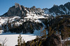 From camp looking over Lake Viviane and up at Prusic peak.