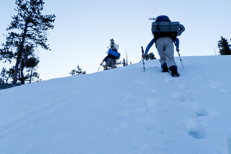Snow is getting deeper, softer and steeper.  A great combination for kicking our butt.