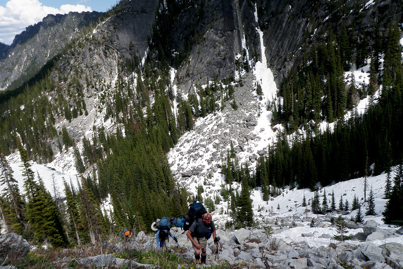 These steeper areas between Nada Lake and Snow Lake were a mix of rock and snow covered.
