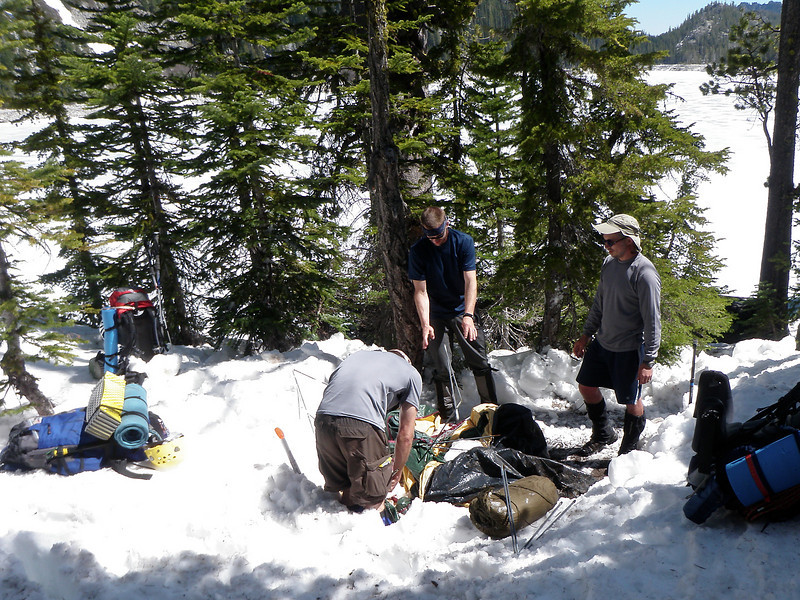 On the way down Monday we found an abandoned tent that was buried in the snow.  No body was found.