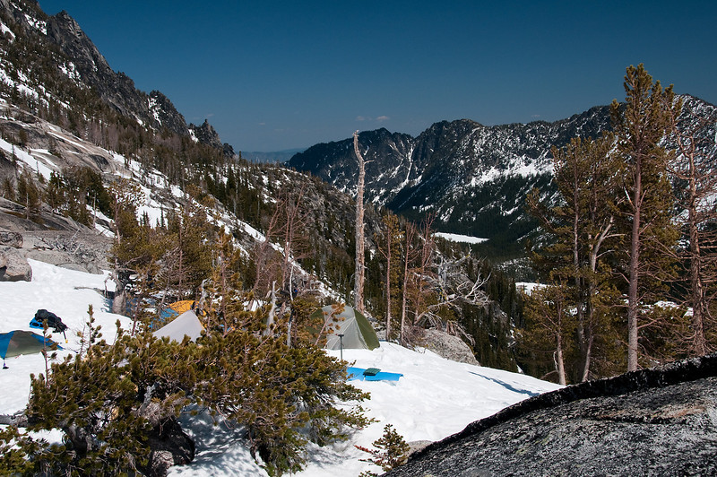 Camp with Snow Lake below.