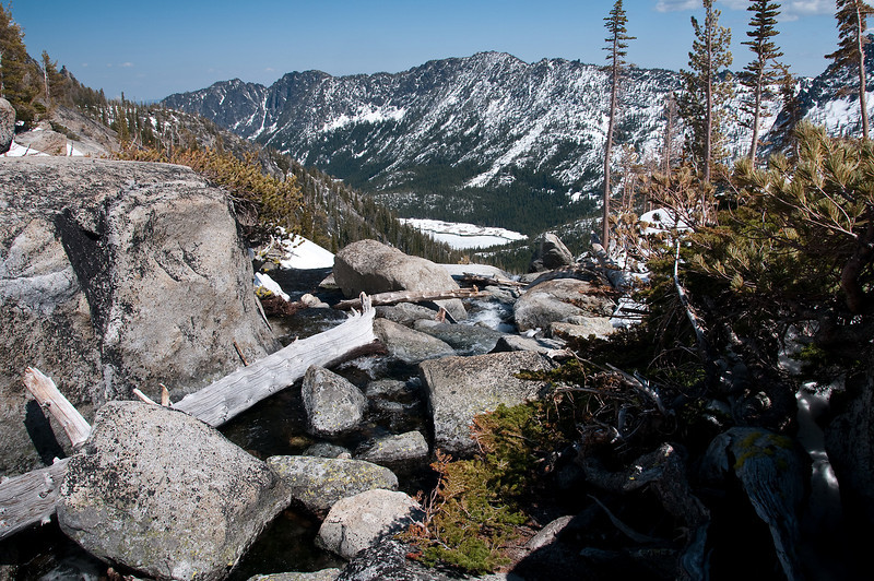 The top of the waterfall with Snow Lake below.