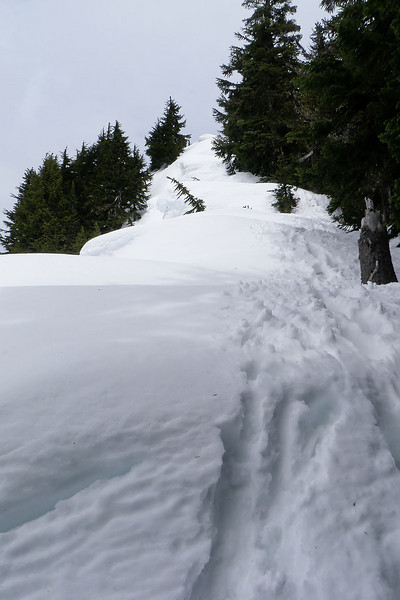 Staying just off the cornice on the way up.