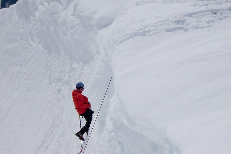 Ed in the simulated crevasse