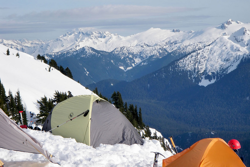 A view of Glacier Peak from camp (the one in teh clouds).