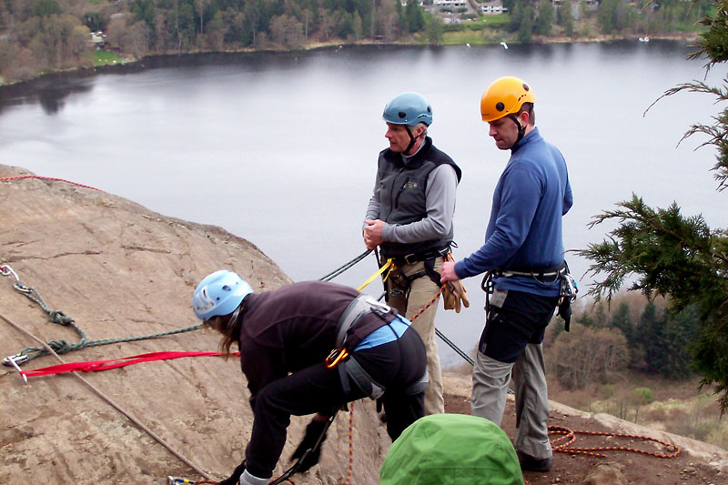 Sandy will belay me as I rappel.