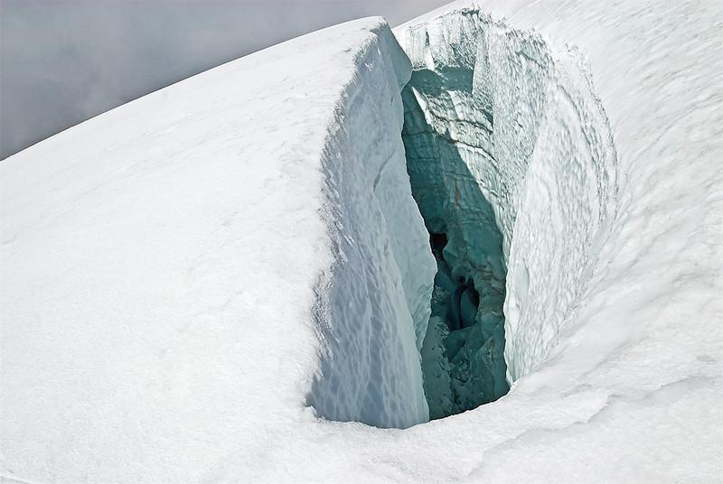 Crossing a snow-bridge