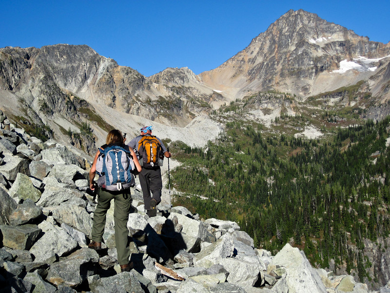 Taking too high a route over the talus field to Wing Lake.