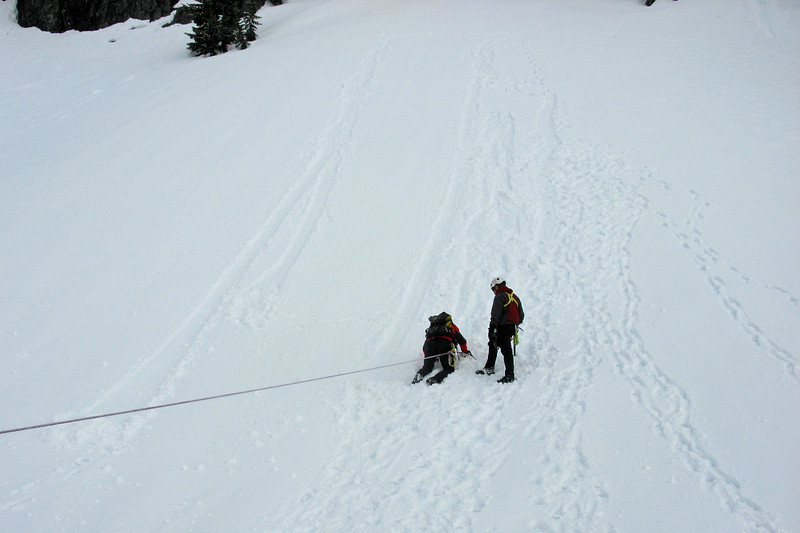 Team arrest training whcih is using your ice axe to stop two guys as they pull you down a steep slope and then switching your rope over to a anchor (picket driven in the snow) so you can free yourself from the rope and go help them.  Easier said than done.