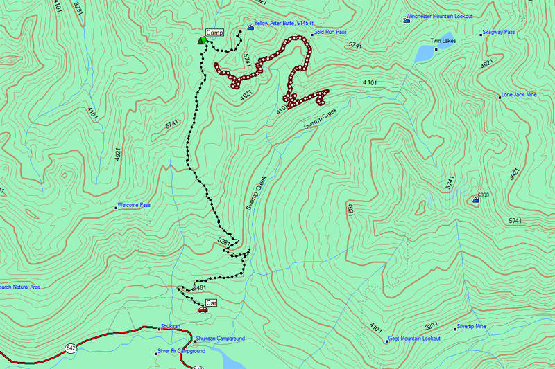 The black dotted line is our route in.  The red dotted line to the right is the summer trail in.