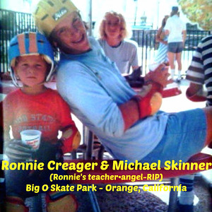 Skateboarder Ronnie Creager with his teacher and Angel Michael Skinner at Big O Skate park in Orange California - around 1973?